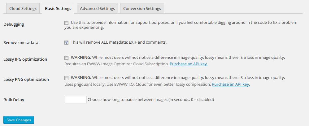 EWWW Image Optimizer設定画面