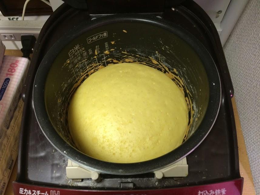 炊飯器ホットケーキ炊きあがり