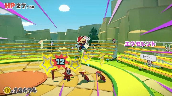 ペーパーマリオ オリガミキング 戦闘シーン